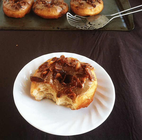 Maple Glazed Yeast Donuts sprinkled with Bacon
