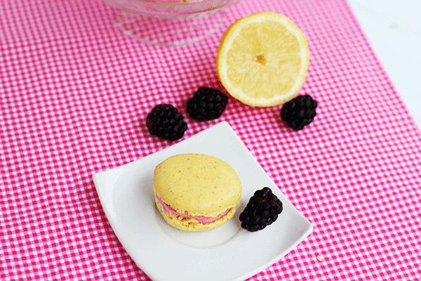 Lemon Macarons with Mixed Berry Buttercream