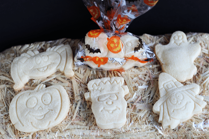 Halloween Shortbread Cutout Cookies via Cookie Dough and Oven Mitt