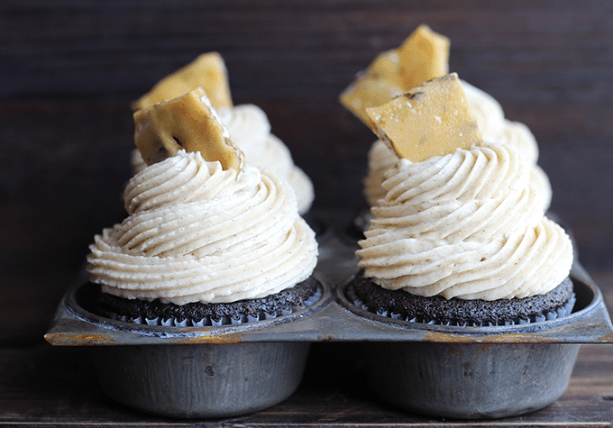 Chocolate Cupcakes with Maple Pecan Frosting #chocolateparty - Cookie Dough and Oven Mitt
