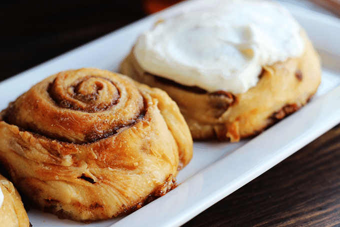 Cinnamon Roll with Cream Cheese Frosting via Cookie Dough and Oven Mitt