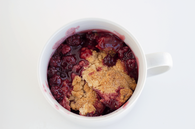 Blackberry Cobbler in a white mug