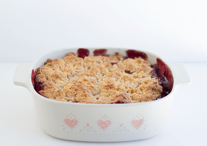 Blackberry Cobbler baked into a retro Pyrex baking dish