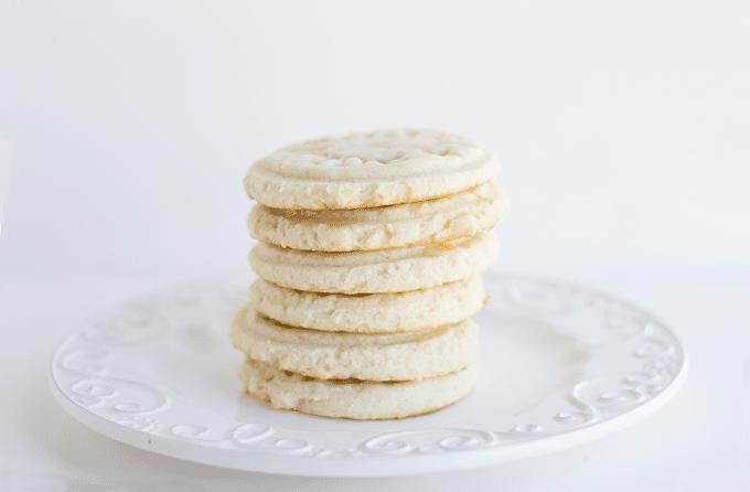 stack of Glazed Lemon Sandwich Cookies