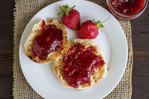 ... strawberry rhubarb jam! The rhubarb cooked down beautifully for the