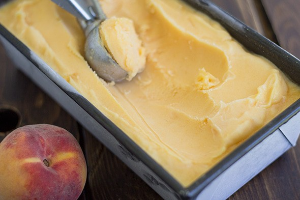 Peach Sorbet - Cookie Dough and Oven Mitt