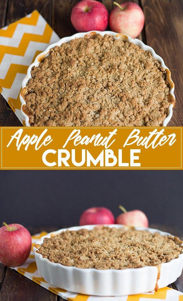 Apple Peanut Butter Crumble - sliced apples and peanut butter come together to make the perfect Fall crumble!