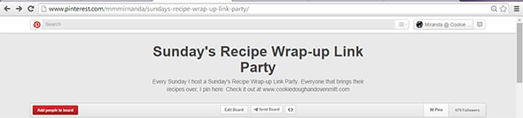 Sunday's Recipe Wrap-up Link Party Pinterest Board