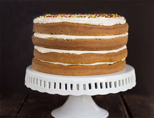 Pumpkin Spice Cake with Brown Butter Frosting