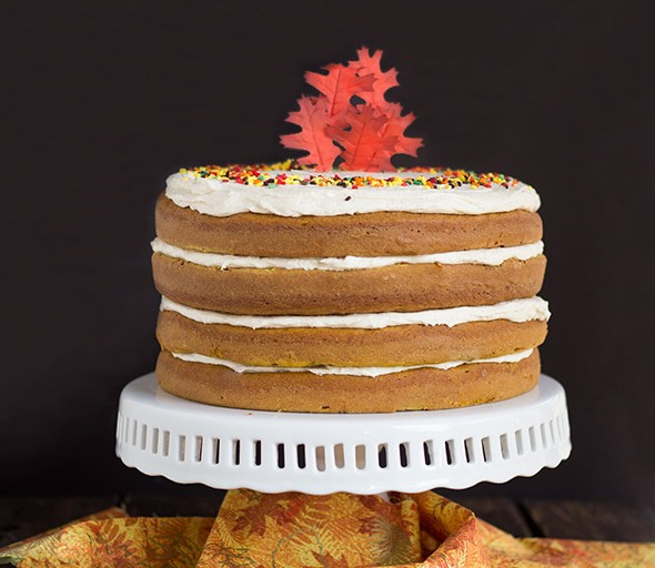 Pumpkin Spiced Cake with Brown Butter Frosting