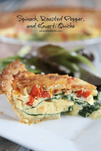 Spinach Roasted Pepper and Havarti Quiche