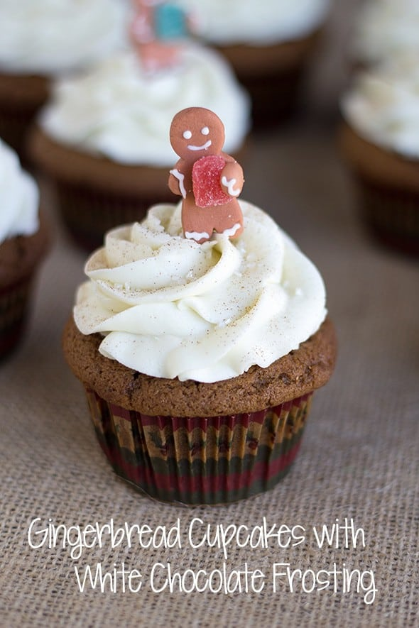 Gingerbread Cupcakes with White Chocolate Frosting