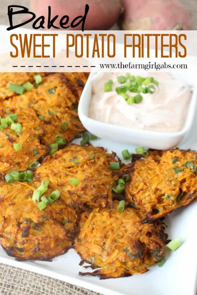 Baked Sweet Potato Fritters with Smokey Garlic Dip