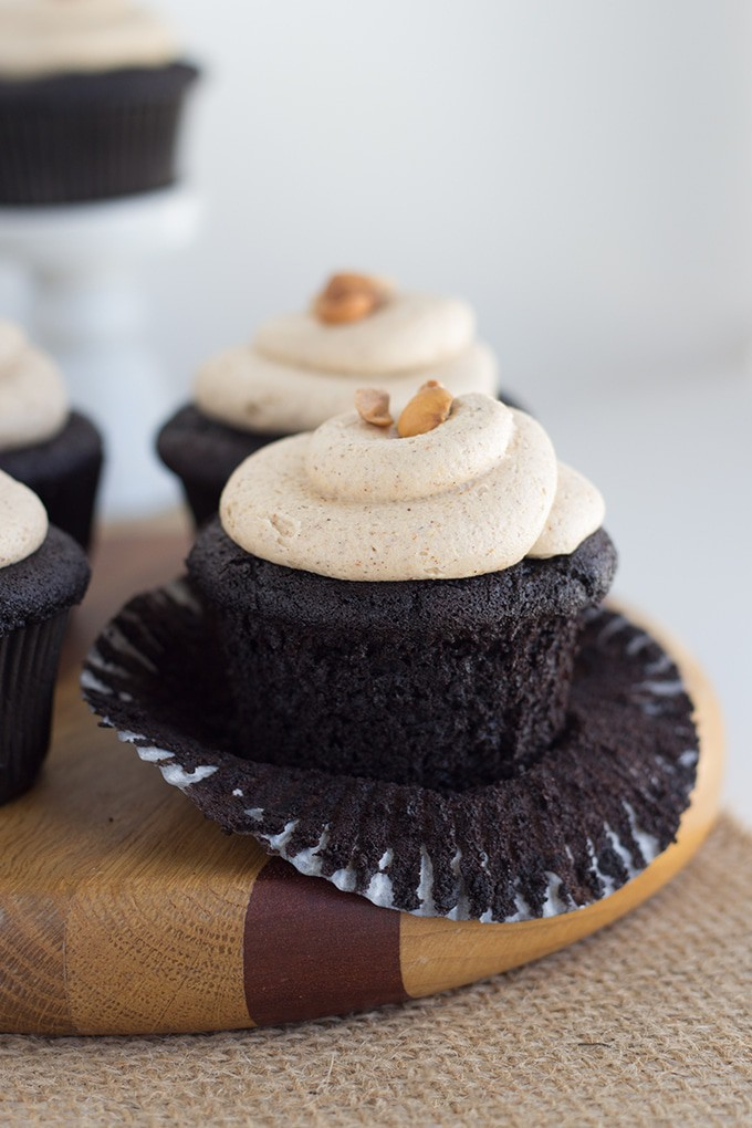 Dark Chocolate Quinoa Cupcakes with Hazelnut Buttercream