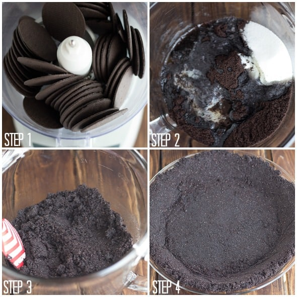 step by step photos showing how to make a chocolate cookie crust for a Raspberry Cream Pie