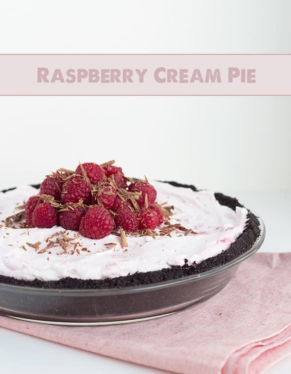 titled image (and shown): Raspberry Cream Pie (topped with fresh raspberries and grated chocolate)