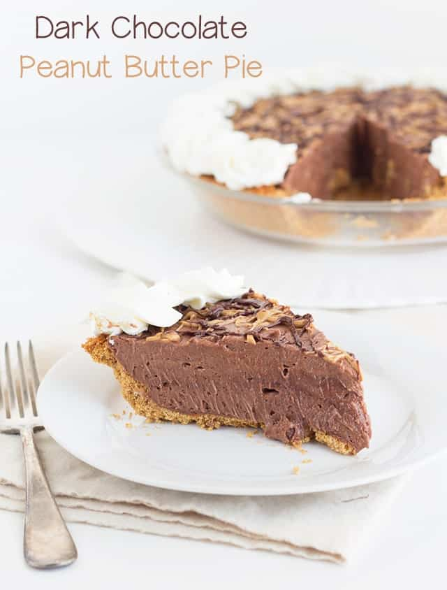 Dark Chocolate Peanut Butter Pie - Cookie Dough and Oven Mitt