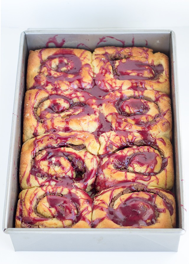 Peanut Butter and Nutella Rolls with Concord Grape Glaze