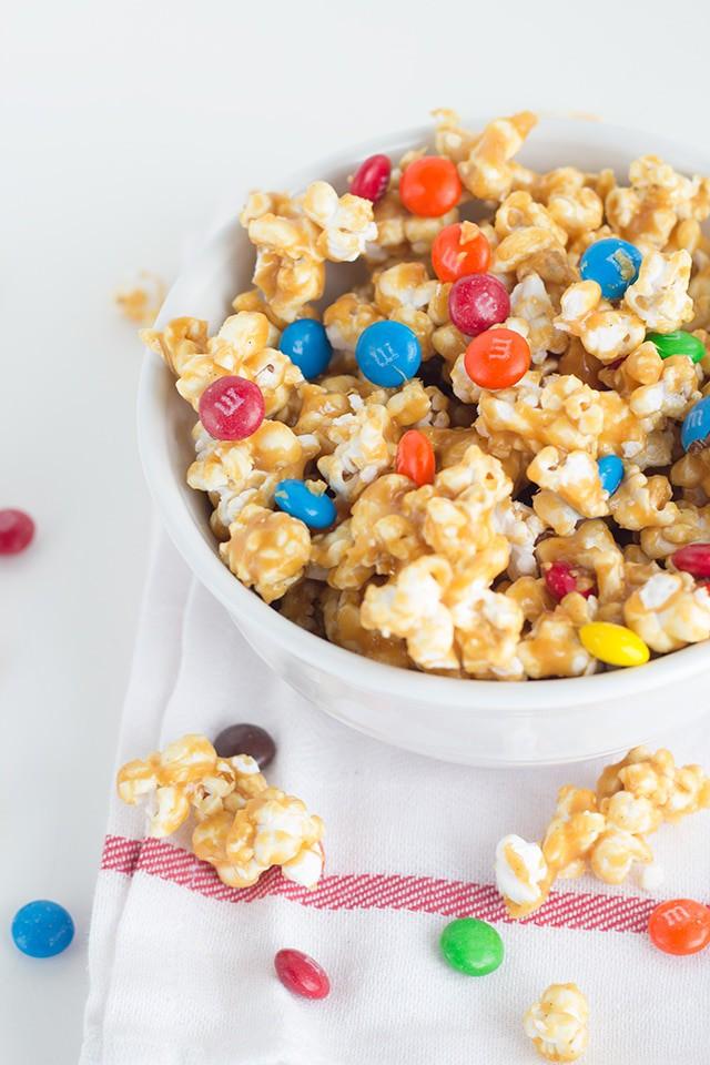 Salted Caramel M&M Popcorn