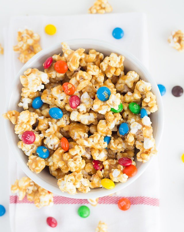 Salted Caramel M&M Popcorn