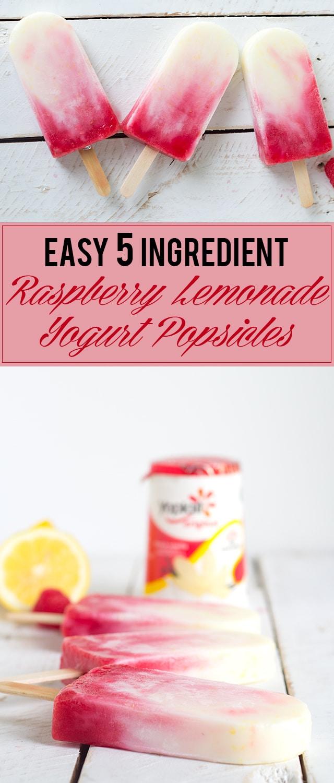 Raspberry Lemonade Yogurt Popsicles