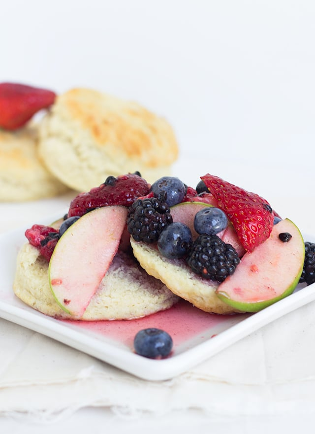 Redd's Apple Fruit Shortcake Recipe - filled with blueberries, raspberries, strawberries, blackberries, apples and amazing Redd's apple ale on top of a sweet butter biscuit!