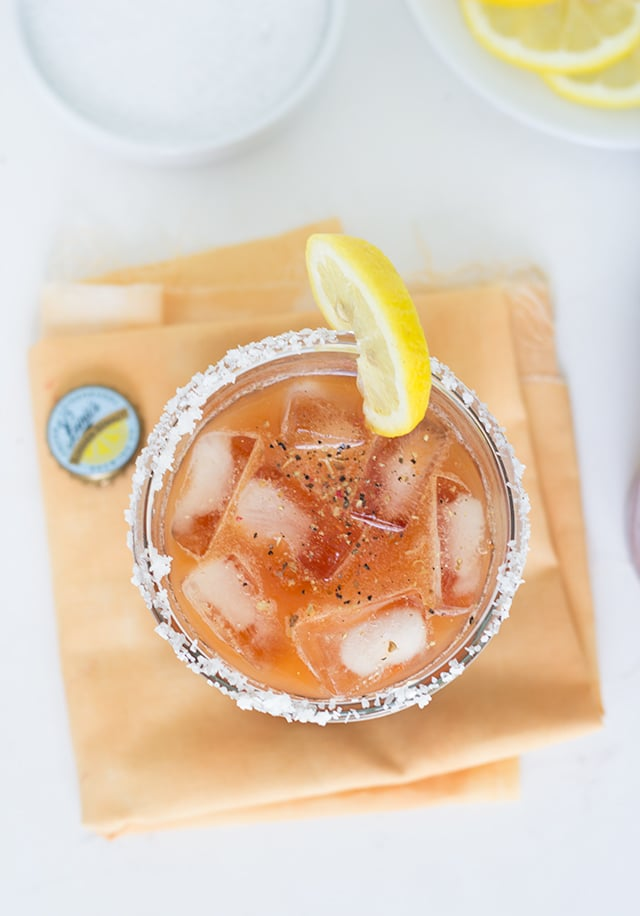 Bloody Mary Beer - It's simply vegetable juice, summer shandy beer, salt, pepper, ice and lemon for garnish. It tastes amazing!