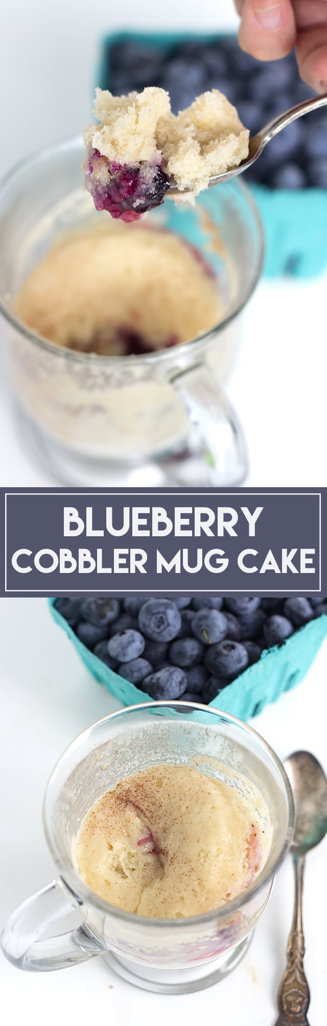 Blueberry Cobbler Mug Cake - Fruit on the bottom and a layer of moist vanilla cake. It's the quickest and easiest cobbler you'll make!