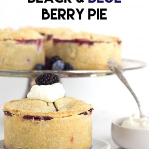 Deep Dish Black & Blue Berry Pie - blackberries and blueberries come together and make the perfect mini deep dish pie. No sharing required!