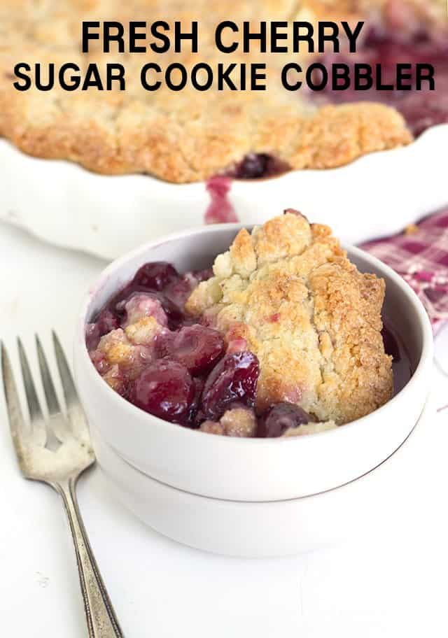 Fresh Cherry Sugar Cookie Cobbler - Fresh cherry filled cobb..