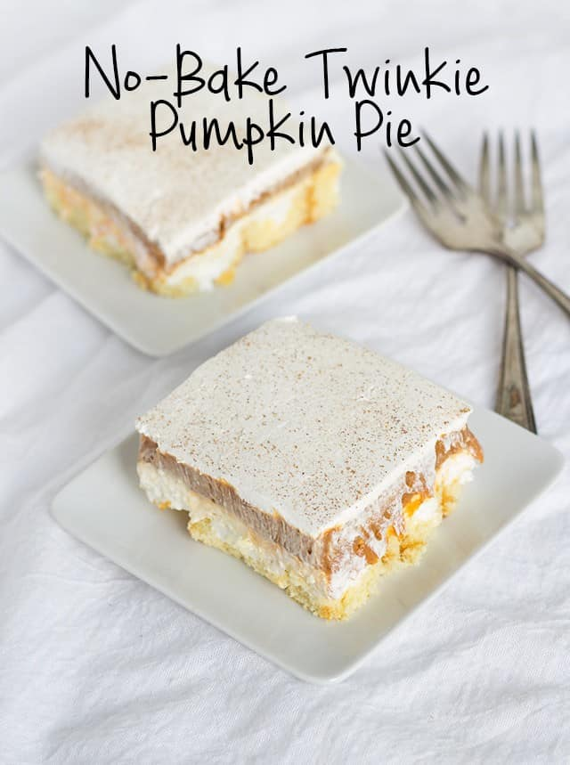 No-Bake Twinkie Pumpkin Pie - A delicious layered pumpkin spice dessert. Twinkies, cream cheese, whipped cream, pumpkin and spice, what's not to love? It's so simple to make.