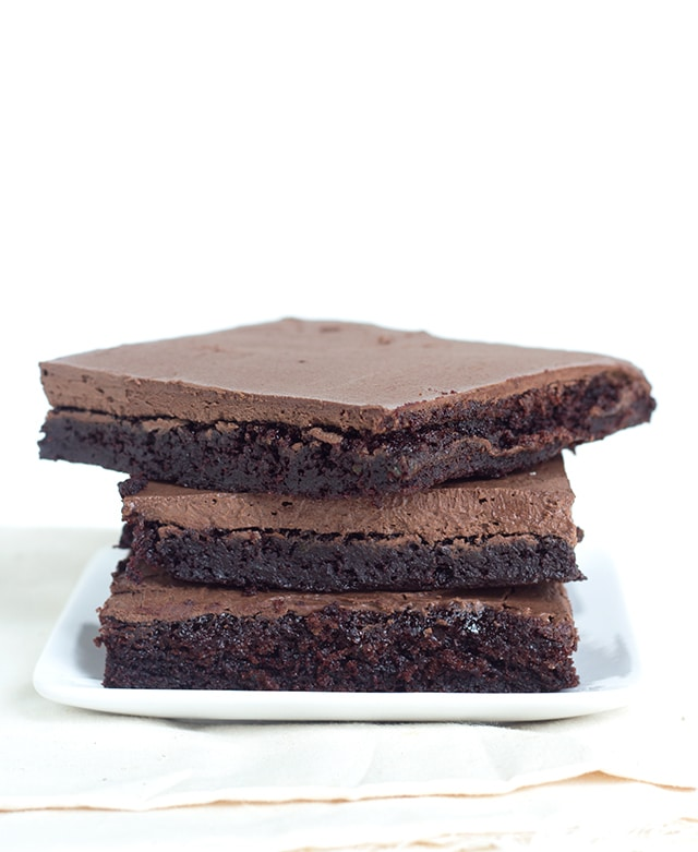 Zucchini Brownies with Chocolate Frosting - Tender, fudgy chocolate brownies topped with a rich chocolate frosting. The perfect use for zucchini!