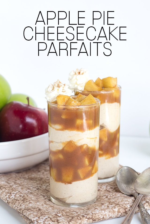 Caramel Apple Pie Cheesecake Parfaits - Caramel apple pie filling packed in a cup with warm cinnamon cheesecake filling and served with a swirl of whipped cream and dash of cinnamon