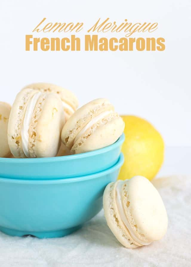 Lemon Meringue French Macarons - lemon french macarons with a marshmallow frosting and a fresh, tart lemon curd filling.