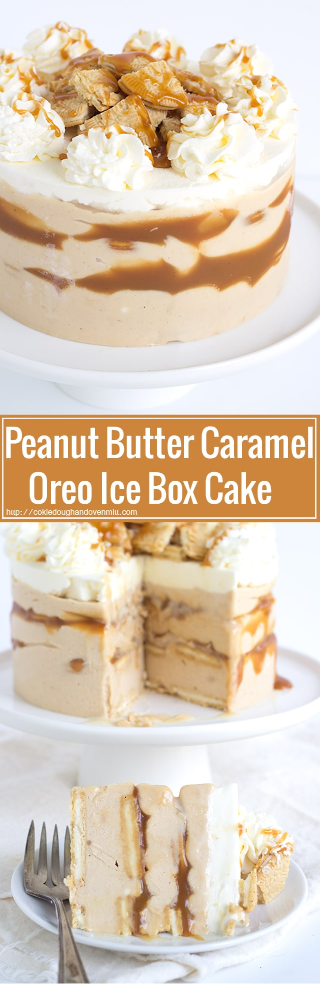 Peanut Butter Caramel Oreo Ice Box Cake - peanut butter caramel cheesecake layered with thin golden Oreo's and homemade caramel sauce. Perfect treat for any peanut butter lover.