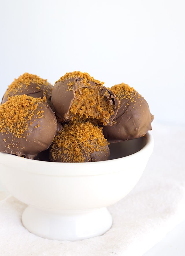 Pumpkin Truffles - Delicious pumpkin flavor blended in with gingersnap crumbs. These are the truffles that you need in your life.