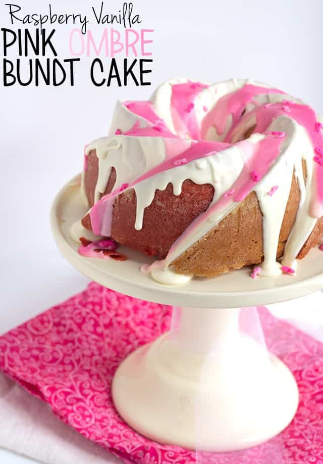 Raspberry Vanilla Pink Ombre Bundt Cake - Dense vanilla cake with a hint of raspberry flavoring and a beautiful pink ombre effect. Breast Cancer Awareness sprinkles are a necessity!