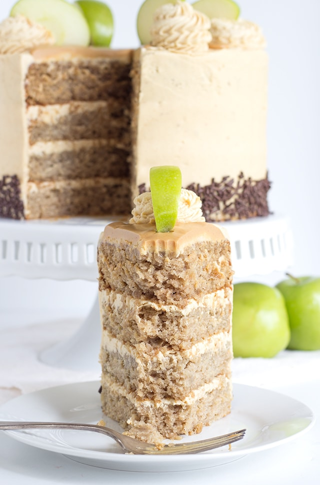 Apple Cake with Peanut Butter Frosting - moist cinnamon apple cake layered with peanut butter frosting. Apples and peanut butter are meant to be together!