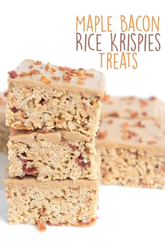 Maple Bacon Rice Krispies Treats - sweet and salty chewy marshmallow rice krispies treats filled with bits of bacon and frosted with a maple buttercream.
