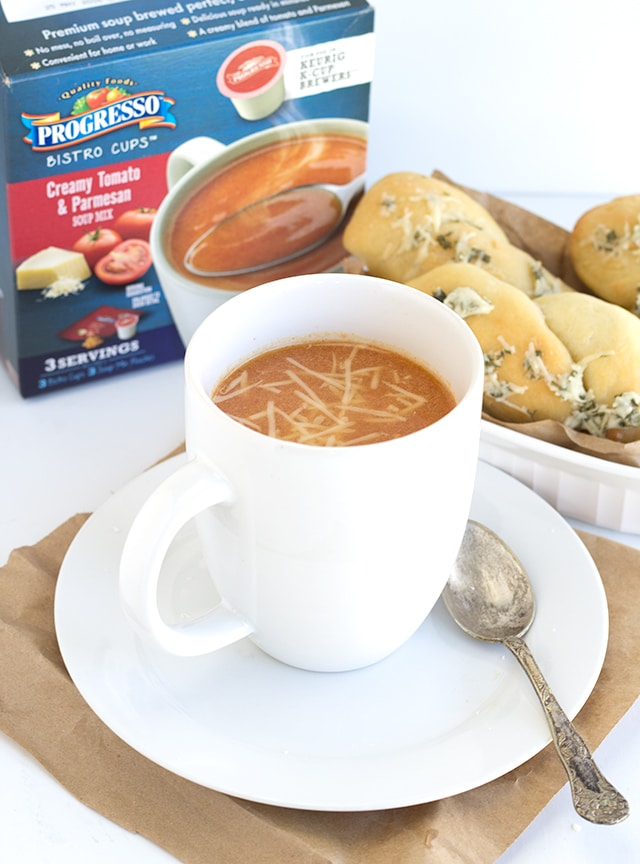 Brewed Soup and Parmesan Dipping Bread Sticks - Break out the Keurig and brew up some tomato soup to pair with these delicious bread sticks.