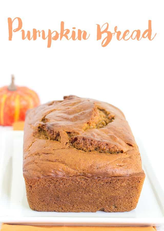 Pumpkin Bread - moist pumpkin bread with loads of spices and flavor. Add a little butter to a warm slice of bread and enjoy!