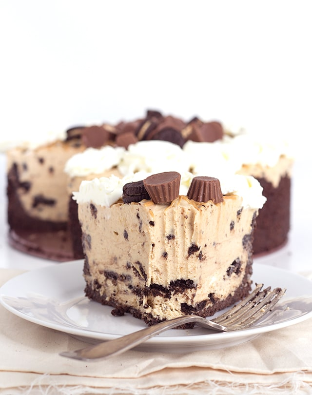 No Bake Reese's Peanut Butter Oreo Cheesecake - no bake peanut butter cheesecake with bits of Reese's Oreos throughout it.