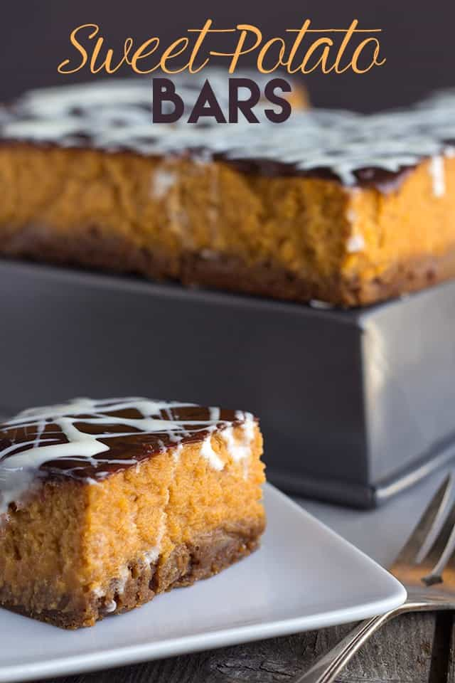 Sweet Potato Bars - Thick sweet potato filling that's slightly sweet and filled with holiday spices. It's topped with a fudge and drizzled with marshmallow topping.
