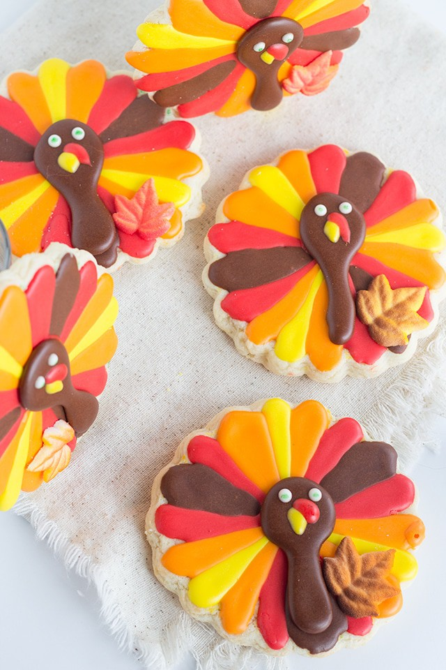 adorable Turkey Cookies - cut out cookies decorated to look like turkeys