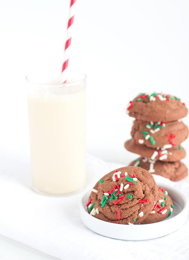 Chocolate Drop Sugar Cookies - Soft chocolate sugar cookies that don't need to be chilled and cut out!