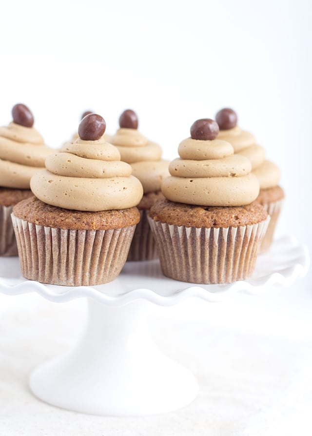 Coffee Cupcakes with Coffee Buttercream and a whipped mocha ganache filling
