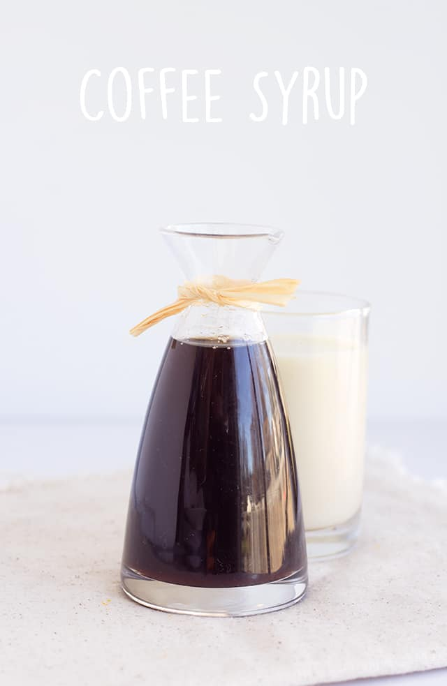 titled image - Coffee Syrup - a glass carafe of homemade coffee concentrate (coffee syrup)