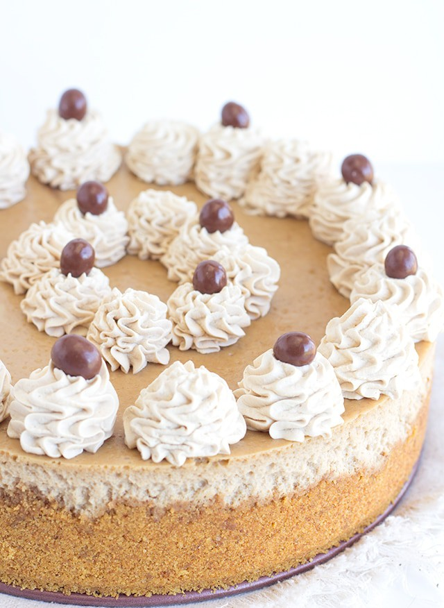 baked Coffee Cheesecake with coffee whipped cream on top