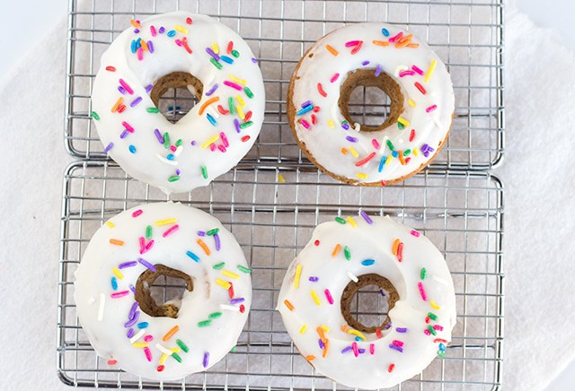 Baked Vanilla Coffee Donuts - Vanilla donuts baked up with a lightly infused coffee flavor.