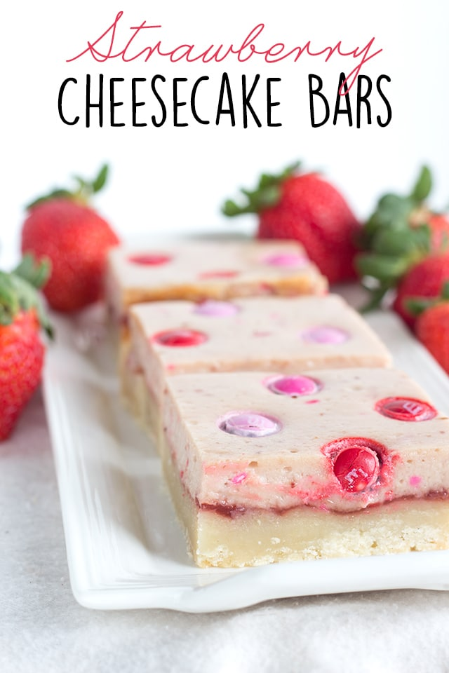 Strawberry Cheesecake Bars - shortbread topped with strawberry jam, cheesecake and strawberry flavored M&M's®!